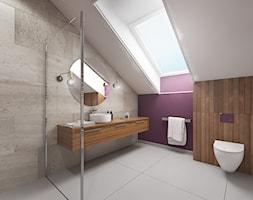 Wnętrze domu w Budach Grabskich - Średnia fioletowa łazienka na poddaszu z oknem, styl nowoczesny - zdjęcie od Tu architekci
