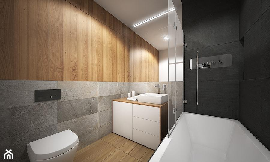 Wnętrze mieszkania w Warszawie - Mała łazienka na poddaszu w bloku w domu jednorodzinnym bez okna, styl nowoczesny - zdjęcie od Tu architekci