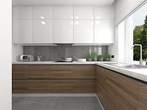 Wnętrze mieszkania na Teofilowie - Duża otwarta biała szara kuchnia w kształcie litery l, styl skandynawski - zdjęcie od Tu architekci