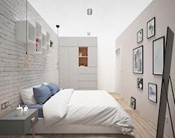 PASTELOVE POZNAŃ - Średnia biała szara sypialnia małżeńska, styl nowoczesny - zdjęcie od AM Design Studio - Homebook