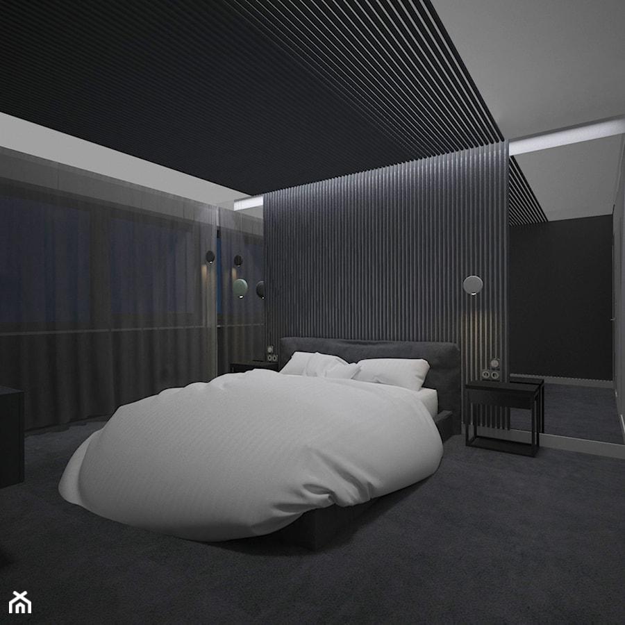 SYPIALNIA MINIMAL - Średnia czarna sypialnia małżeńska, styl minimalistyczny - zdjęcie od AM Design Studio