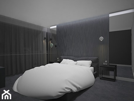 Aranżacje wnętrz - Sypialnia: SYPIALNIA MINIMAL - Średnia czarna sypialnia małżeńska, styl minimalistyczny - AM Design Studio. Przeglądaj, dodawaj i zapisuj najlepsze zdjęcia, pomysły i inspiracje designerskie. W bazie mamy już prawie milion fotografii!