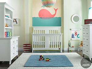 POKÓJ DZIECKA - Średni biały żółty pokój dziecka dla chłopca dla dziewczynki dla malucha - zdjęcie od PIXERS