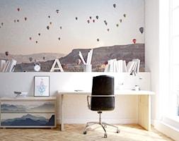 WNĘTRZA BIUROWE - Małe białe biuro domowe kącik do pracy, styl eklektyczny - zdjęcie od PIXERS
