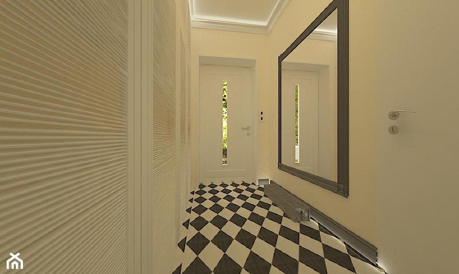 """Remont wnętrz szeregówki_Polkowice - Średni biały hol / przedpokój, styl nowojorski - zdjęcie od Pracownia Projektowa """"Interior-Art"""""""