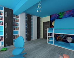 """Dom w Lubinie - Duży biały niebieski czarny pokój dziecka dla chłopca dla ucznia dla malucha dla nastolatka, styl tradycyjny - zdjęcie od Pracownia Projektowa """"Interior-Art"""""""