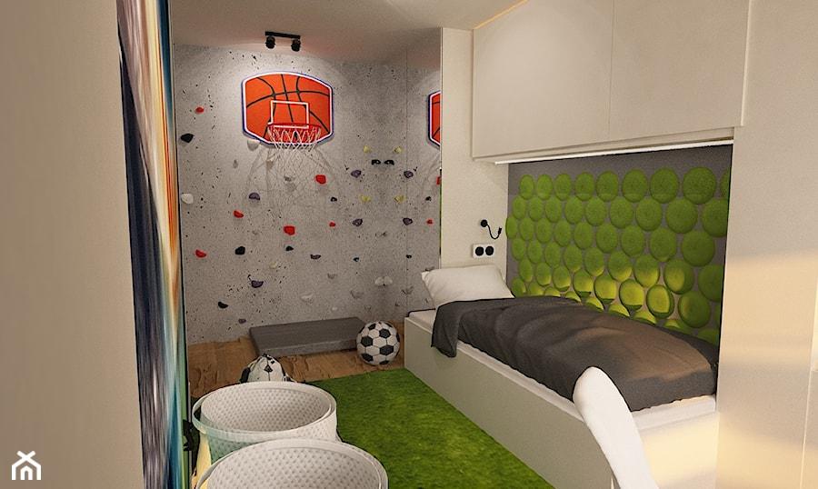 """Litomska, Wrocław - Mały szary zielony pokój dziecka dla chłopca dla malucha, styl nowoczesny - zdjęcie od Pracownia Projektowa """"Interior-Art"""""""