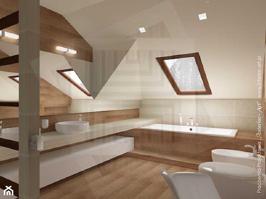 """Salon kąpielowy na poddaszu - zdjęcie od Pracownia Projektowa """"Interior-Art"""""""