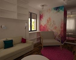 """Dom w Polkowicach - Średni biały beżowy turkusowy różowy pokój dziecka dla dziewczynki dla nastolatka, styl nowoczesny - zdjęcie od Pracownia Projektowa """"Interior-Art"""""""