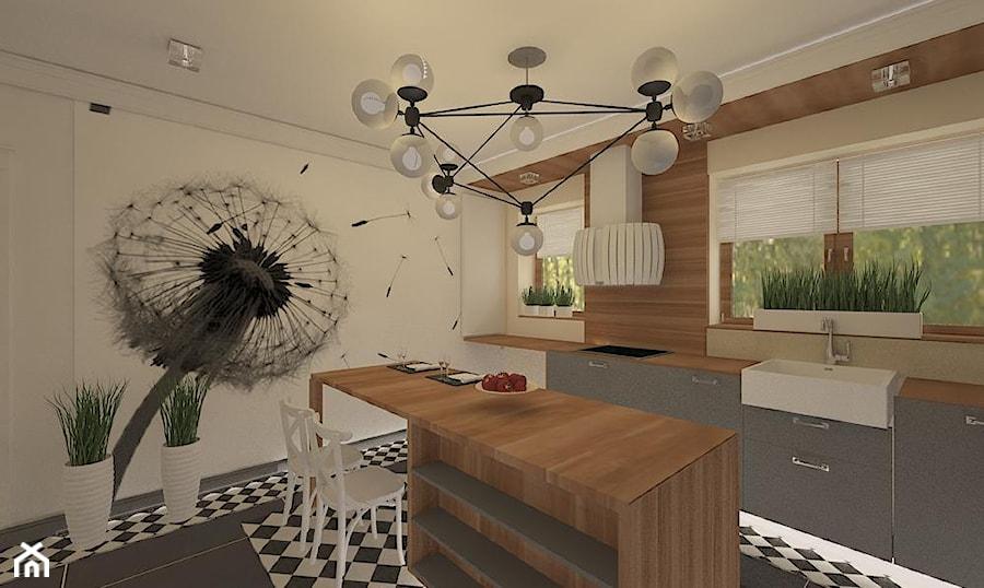 """Remont wnętrz szeregówki_Polkowice - Średnia zamknięta biała kuchnia jednorzędowa z wyspą z oknem, styl nowojorski - zdjęcie od Pracownia Projektowa """"Interior-Art"""""""