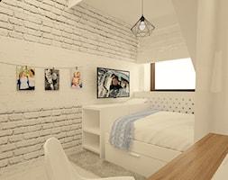"""Pokój nastolatki _2 - Mały biały pokój dziecka dla chłopca dla dziewczynki dla ucznia dla nastolatka, styl skandynawski - zdjęcie od Pracownia Projektowa """"Interior-Art"""""""