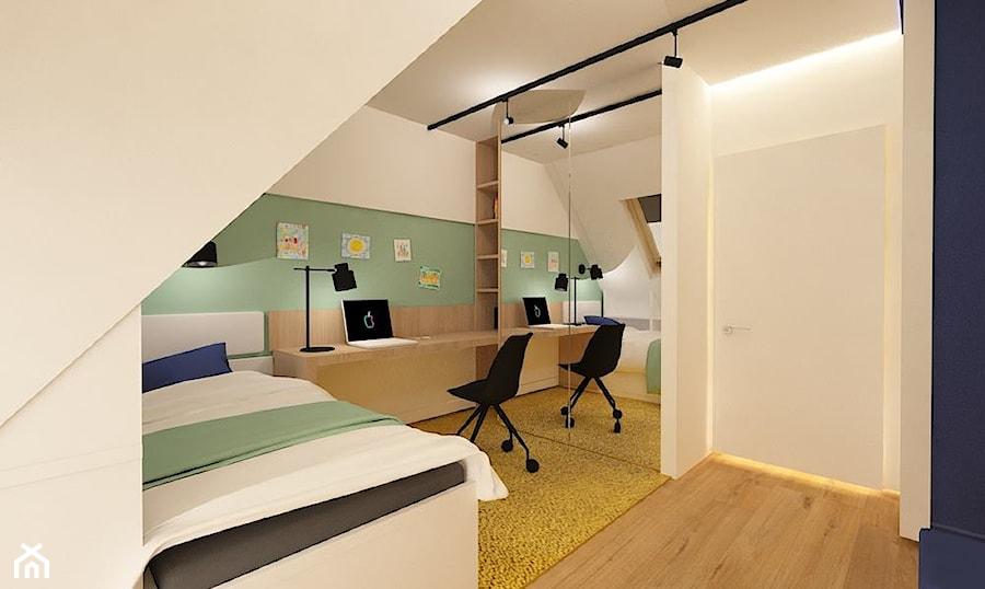 """Dom w Lubinie 2 - Mały biały zielony pokój dziecka dla chłopca dla dziewczynki dla ucznia dla nastolatka, styl nowoczesny - zdjęcie od Pracownia Projektowa """"Interior-Art"""""""