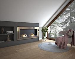 Sypialnia Glamour - Mała szara sypialnia na poddaszu, styl glamour - zdjęcie od Schemat