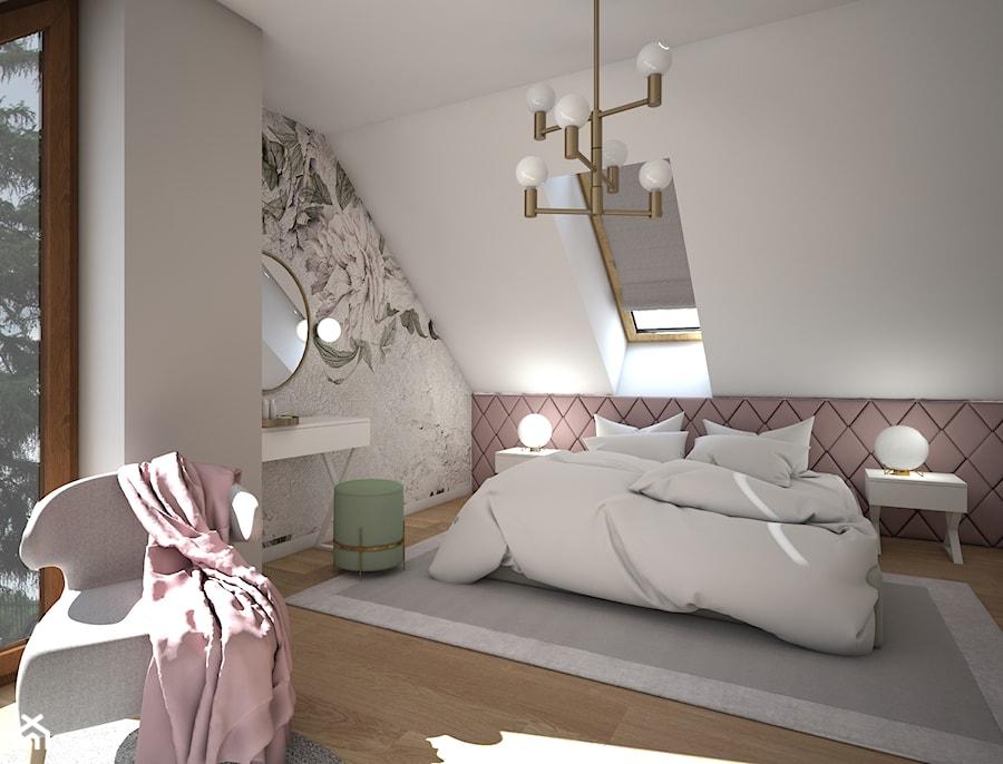 Sypialnia Glamour - Średnia biała szara sypialnia małżeńska na poddaszu, styl glamour - zdjęcie od Schemat