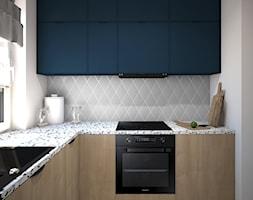 Salon z kuchnią - Segment - Średnia szara kuchnia w kształcie litery l z oknem, styl nowoczesny - zdjęcie od Schemat