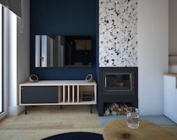 Salon z kuchnią - Segment - Mały szary czarny salon, styl nowoczesny - zdjęcie od Schemat