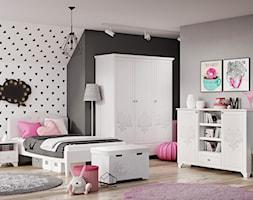 Meble dla dzieci - Średni szary czarny pokój dziecka dla dziewczynki dla malucha dla nastolatka, styl eklektyczny - zdjęcie od Galeria Wnętrz Domar