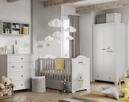 Meble dla dzieci - Średni biały szary pokój dziecka dla chłopca dla dziewczynki dla niemowlaka, styl skandynawski - zdjęcie od Galeria Wnętrz Domar