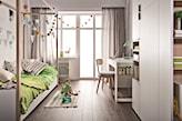 drewniana podłoga, zielony koc, łóżko z baldachimem, białe meble w pokoju dziecka