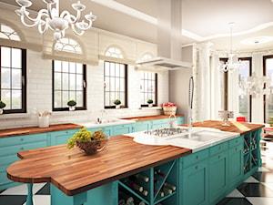 Duża otwarta biała kuchnia dwurzędowa z oknem, styl kolonialny - zdjęcie od Galeria Wnętrz Domar
