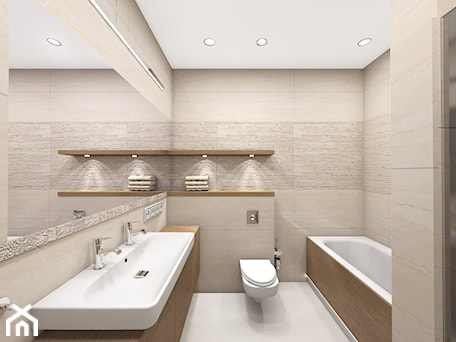 projekty - Mała beżowa łazienka w bloku bez okna, styl klasyczny - zdjęcie od marina suchorska architektura wnętrz