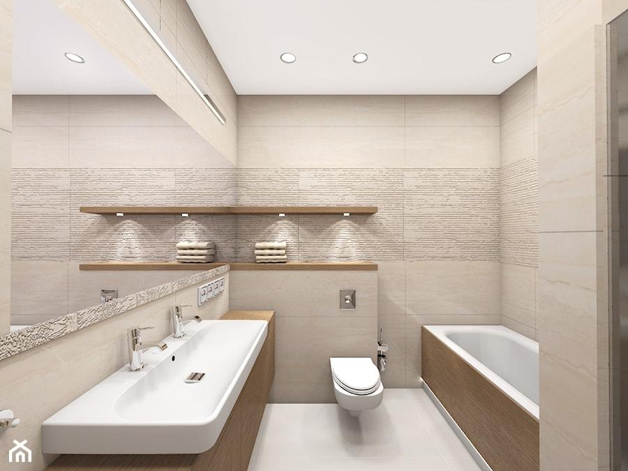 Projekty Mała Beżowa łazienka W Bloku Bez Okna Styl Klasyczny