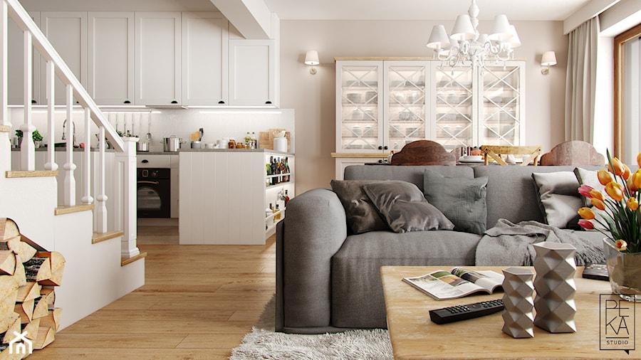 EKLEKTYCZNY DOM - Mały biały beżowy salon z kuchnią z jadalnią, styl eklektyczny - zdjęcie od PEKA STUDIO