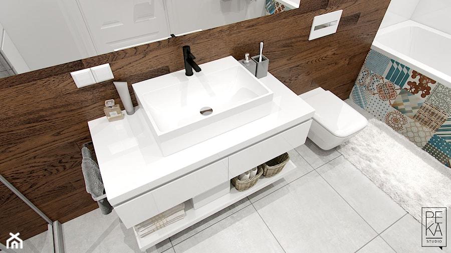 EKLEKTYCZNY DOM - Mała łazienka, styl nowoczesny - zdjęcie od PEKA STUDIO