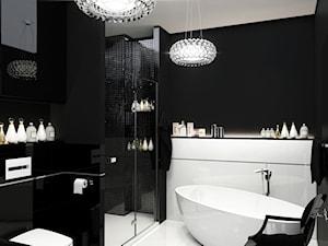 ELEGANCKI PENTHOUSE - Średnia czarna łazienka w domu jednorodzinnym bez okna, styl glamour - zdjęcie od PEKA STUDIO