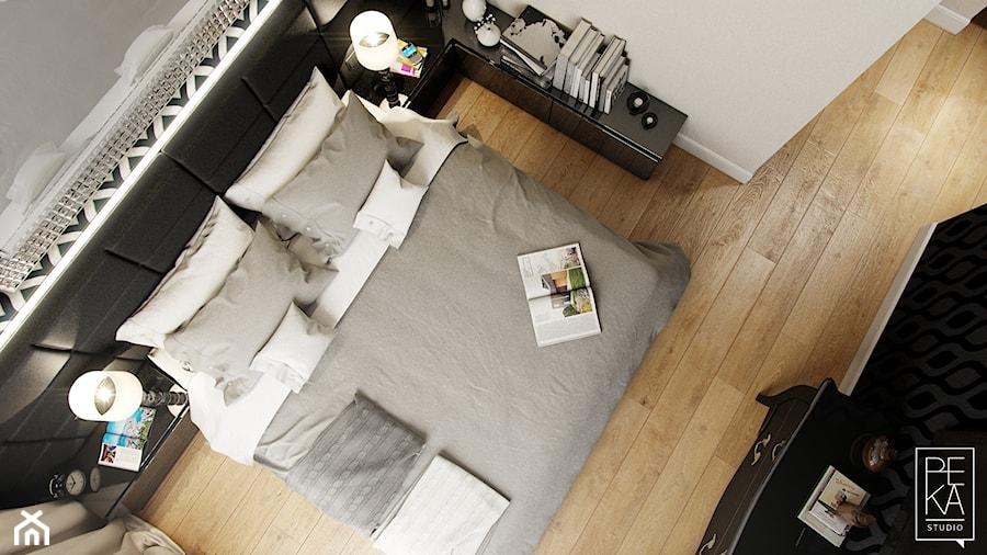 ELEGANCKI PENTHOUSE - Średnia szara sypialnia małżeńska, styl glamour - zdjęcie od PEKA STUDIO