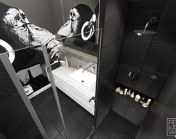 INDUSTRIALNE MIESZKANIE - Mała czarna łazienka w bloku bez okna, styl nowoczesny - zdjęcie od PEKA STUDIO