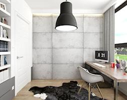 PORTFOLIO - Średnie szare białe biuro domowe w pokoju, styl vintage - zdjęcie od PEKA STUDIO