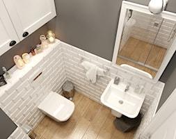 EKLEKTYCZNY DOM - Mała łazienka w bloku w domu jednorodzinnym bez okna, styl eklektyczny - zdjęcie od PEKA STUDIO