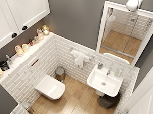EKLEKTYCZNY DOM - Mała szara łazienka w bloku w domu jednorodzinnym bez okna, styl eklektyczny - zdjęcie od PEKA STUDIO