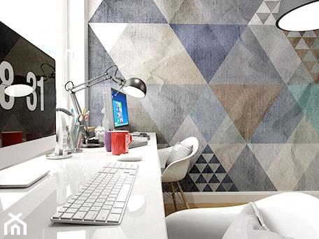 Aranżacje wnętrz - Biuro: PORTFOLIO - Średnie kolorowe biuro domowe w pokoju, styl vintage - PEKA STUDIO. Przeglądaj, dodawaj i zapisuj najlepsze zdjęcia, pomysły i inspiracje designerskie. W bazie mamy już prawie milion fotografii!