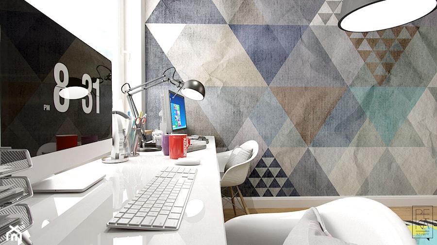 PORTFOLIO - Średnie kolorowe biuro domowe w pokoju, styl vintage - zdjęcie od PEKA STUDIO