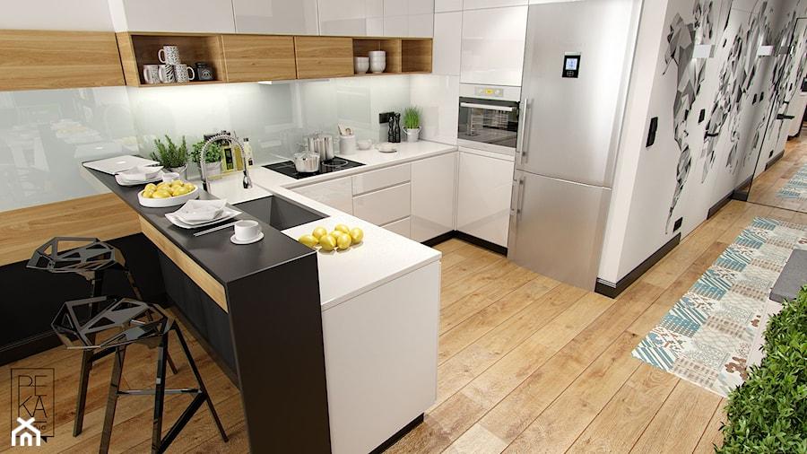 MIESZKANIE Z CZERNIĄ - Mała otwarta biała szara kuchnia w kształcie litery u w aneksie, styl nowoczesny - zdjęcie od PEKA STUDIO