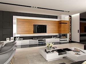 DOM W STYLU GLAMOUR - Duży biały czarny salon z jadalnią, styl glamour - zdjęcie od PEKA STUDIO