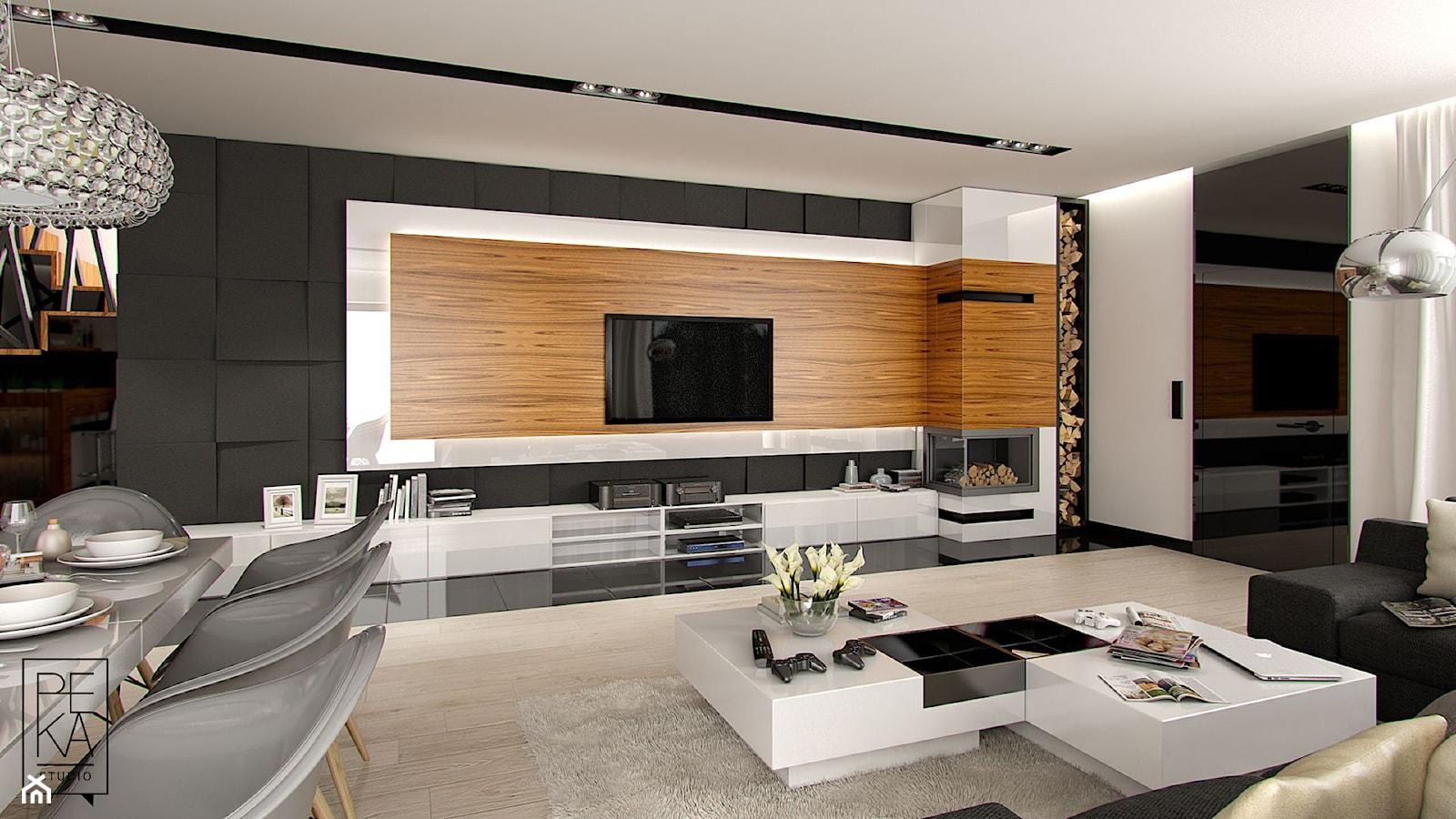 DOM W STYLU GLAMOUR - Duży biały czarny salon z jadalnią, styl glamour - zdjęcie od PEKA STUDIO - Homebook