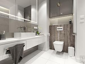 MINIMALIZM Z TURKUSEM - Mała biała brązowa łazienka w bloku bez okna, styl nowoczesny - zdjęcie od PEKA STUDIO