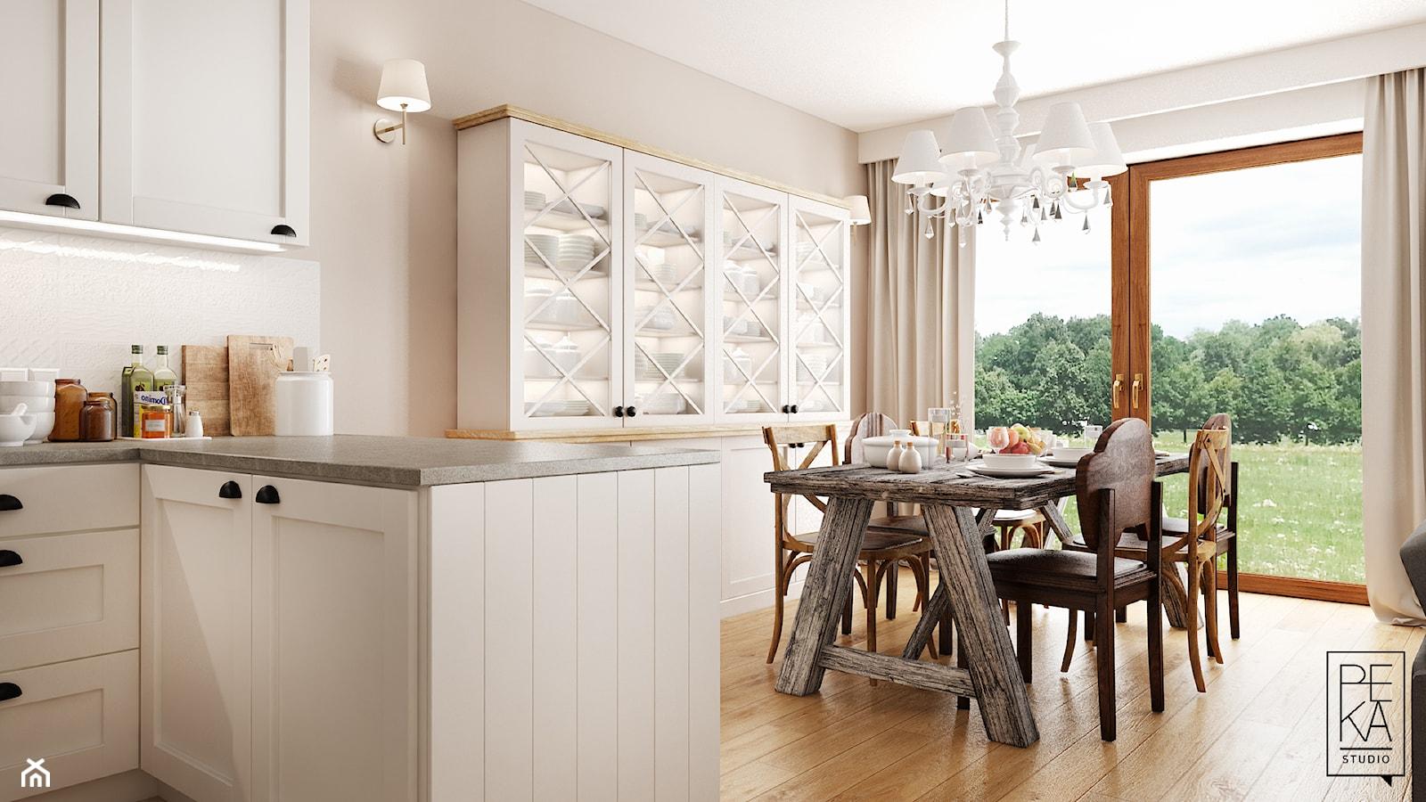 EKLEKTYCZNY DOM - Średnia otwarta beżowa jadalnia w salonie, styl eklektyczny - zdjęcie od PEKA STUDIO - Homebook