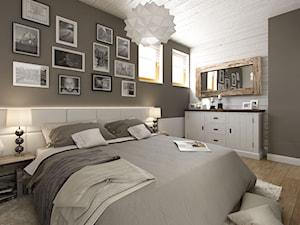 PORTFOLIO - Średnia biała szara sypialnia małżeńska, styl rustykalny - zdjęcie od PEKA STUDIO