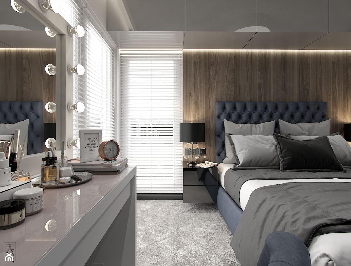 NOWOCZESNY SEGMENT - Średnia brązowa sypialnia małżeńska, styl glamour - zdjęcie od PEKA STUDIO - Homebook
