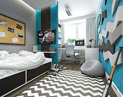 JASNE MIESZKANIE - Duży szary niebieski pokój dziecka dla chłopca dla ucznia dla nastolatka, styl nowoczesny - zdjęcie od PEKA STUDIO