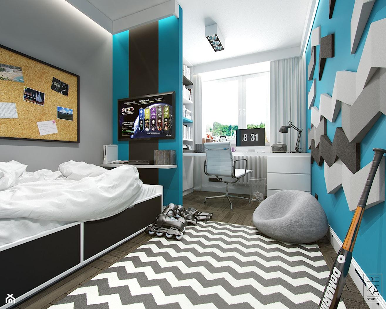 JASNE MIESZKANIE - Duży szary niebieski pokój dziecka dla chłopca dla ucznia dla nastolatka, styl nowoczesny - zdjęcie od PEKA STUDIO - Homebook