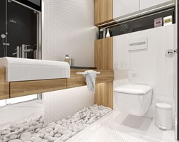 NOWOCZESNY SEGMENT - Mała biała łazienka na poddaszu w bloku w domu jednorodzinnym bez okna, styl nowoczesny - zdjęcie od PEKA STUDIO