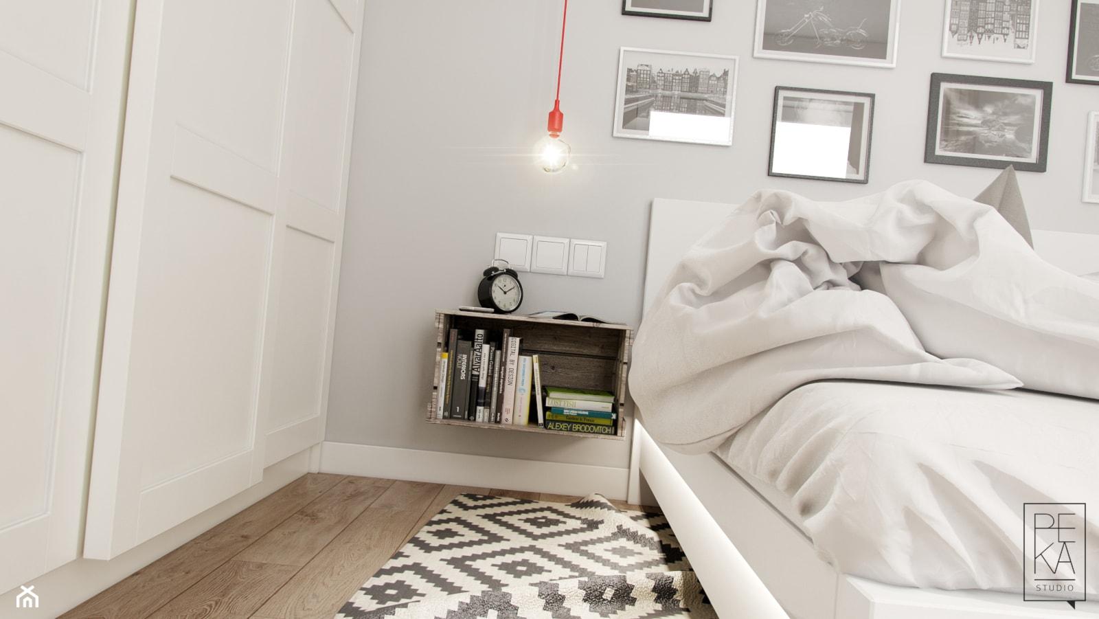 PORTFOLIO - Mała szara sypialnia małżeńska, styl skandynawski - zdjęcie od PEKA STUDIO - Homebook