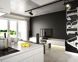 PORTFOLIO - Mały biały czarny salon z kuchnią z jadalnią z tarasem / balkonem, styl industrialny - zdjęcie od PEKA STUDIO