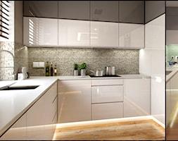 WIZUALIZACJA VS REALIZACJA - Średnia zamknięta biała kuchnia w kształcie litery l, styl nowoczesny - zdjęcie od PEKA STUDIO