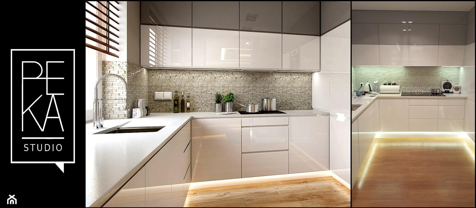WIZUALIZACJA VS REALIZACJA - Średnia zamknięta biała kuchnia w kształcie litery l, styl nowoczesny - zdjęcie od PEKA STUDIO - Homebook